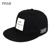 PINMI Black White Print Letter Men Women Baseball Cap Skateboard Street Rap Flat Hip Hop Hat