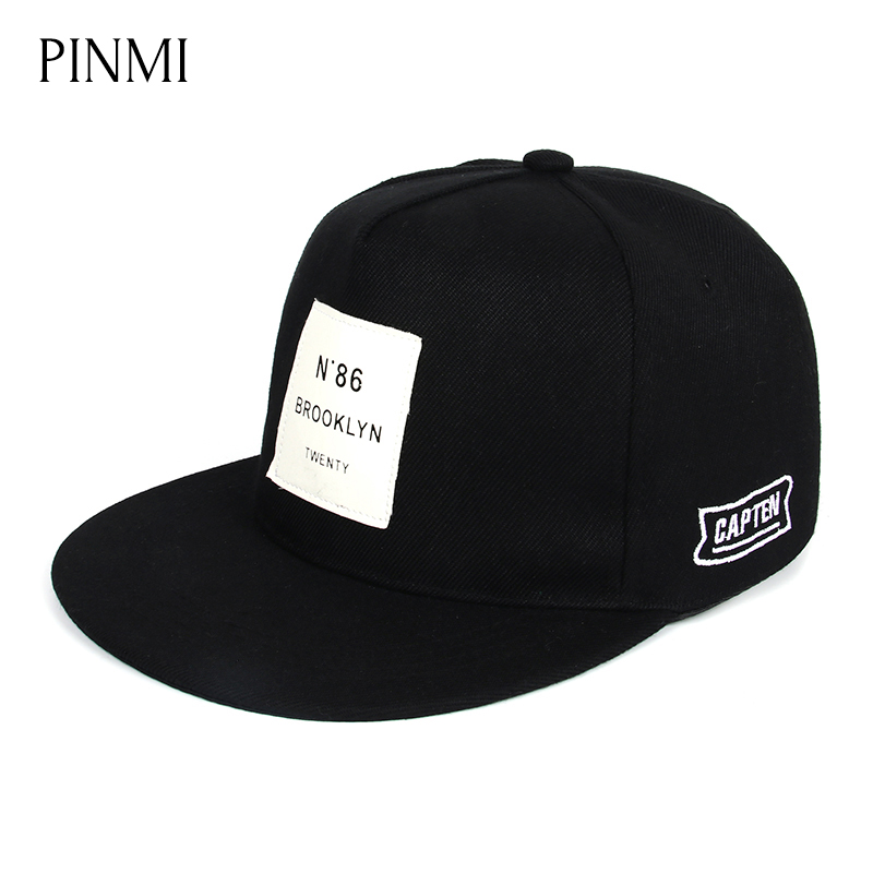 PINMI Brand Black Baseball Cap Men Women Snapback Hat Bones Rap Flat Hip Hop Cap Men 2017 Unisex Brand  Fashion Sun Hats Gorras unsiex men women cotton blend beret cabbie newsboy flat hat golf driving sun cap