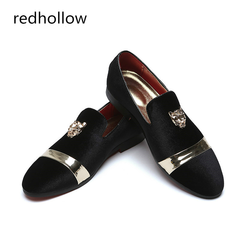 man casual shoes fashion Gold Top and Metal Toe slip on loafers comfortable men shoes spring autumn velvet shoes fotr men in Men 39 s Casual Shoes from Shoes