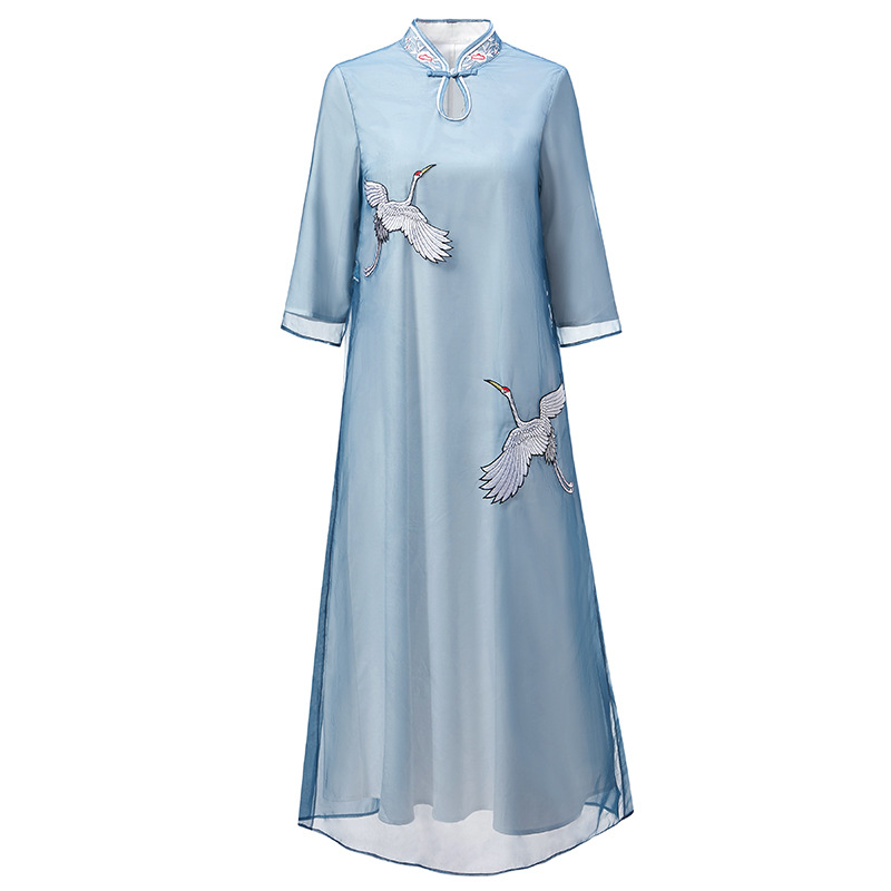 2019 Early Spring New Chinese Style Organza Crane Crane Embroidery Retro Improved Cheongsam Dress In The Long Dresses