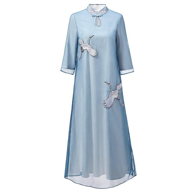 2019 início da primavera novo estilo Chinês organza guindaste guindaste bordado retro melhorou vestido cheongsam a longo vestidos