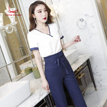 Foot bath technician working clothes set female 2019 spring and autumn pedicure shop pants beautician