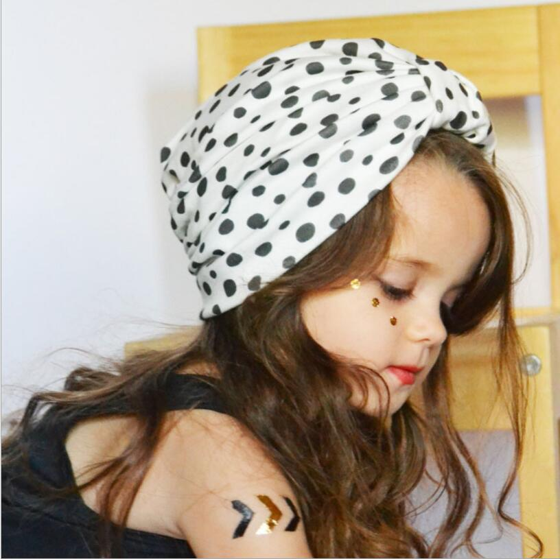 DE Neugeborene Baby Polka Dot Baumwolle stricken Kinder warme Turban Hut Mütze