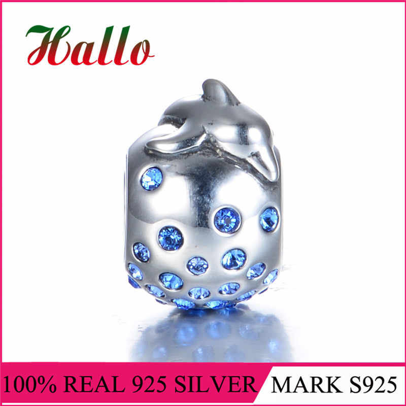 Original Sterling Silver 925 Round High Quality Animal Dophine Charm Stone Bead Fit Brand Bracelet & Necklace DIY Jewelry