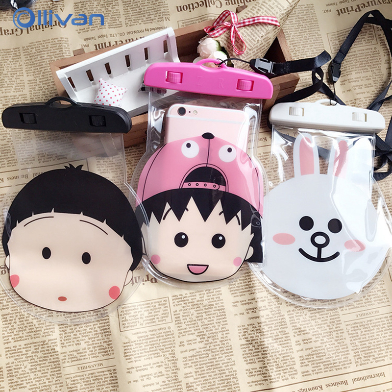 Universal Cute Cartoon Waterproof Phone Bags Cover For iPhone 6 6s 7 8 Plus For Samsung Galaxy S8 S9 Plus RedMi 5 Plus Pouch