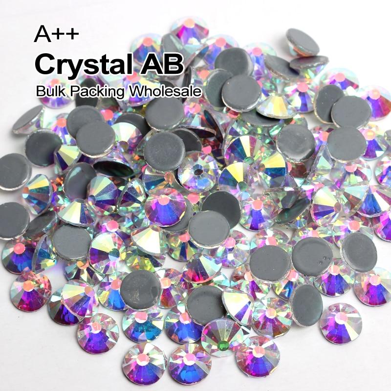 A + + Imballaggio All'ingrosso di alta qualità di Cristallo AB Simile Hotfix Strass Ss6 Ss8 Ss10 Ss12 Ss16 Ss20 Ss30 Trasporto Espresso trasporto libero