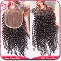 Mais barato peruano crespo cabelo crespo fechamento 4 x 4 encerramento com nós descorados virgem fechamento cabelo estoque cabelo do bebê