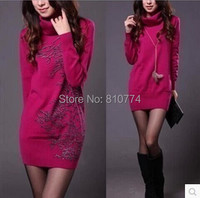 2012 Autumn Solid Color Medium Long Sweater Female Long Sleeve Basic Shirt Sweater Plus Size Outerwear