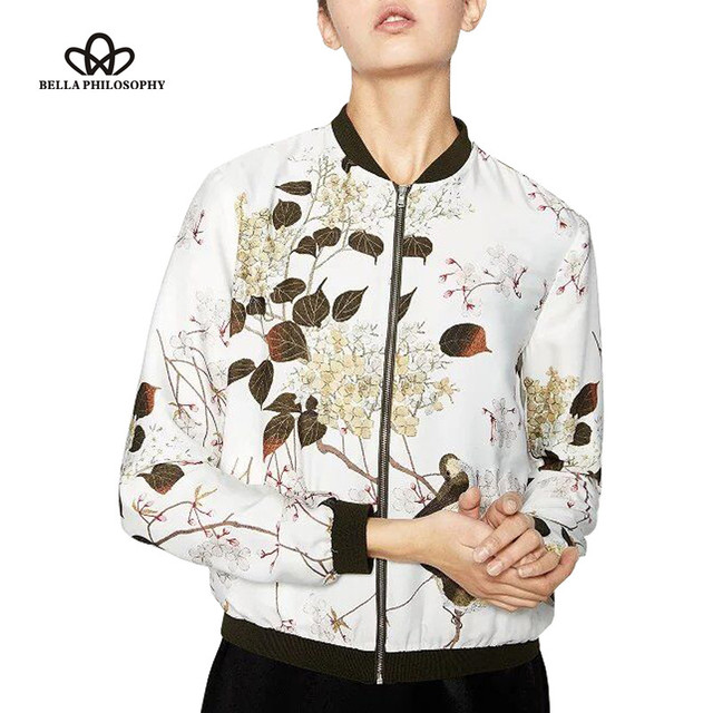 2016 summer autumn new ink pink black floral print women short zipper bomber jacket coat outwear