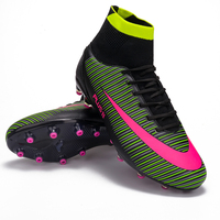 LEOCI Men Kids Football Boots With High Ankle High Top Soccer Shoes Long Spikes Training Football Shoes Sports Shoes Sneakers