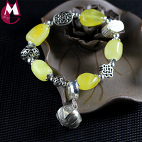 DIY Natural Amber Beeswax Beads Vintage Hollow Chinese Knot Carving Pattern 100% 925 Sterling Silver Women Bracelet Bangle