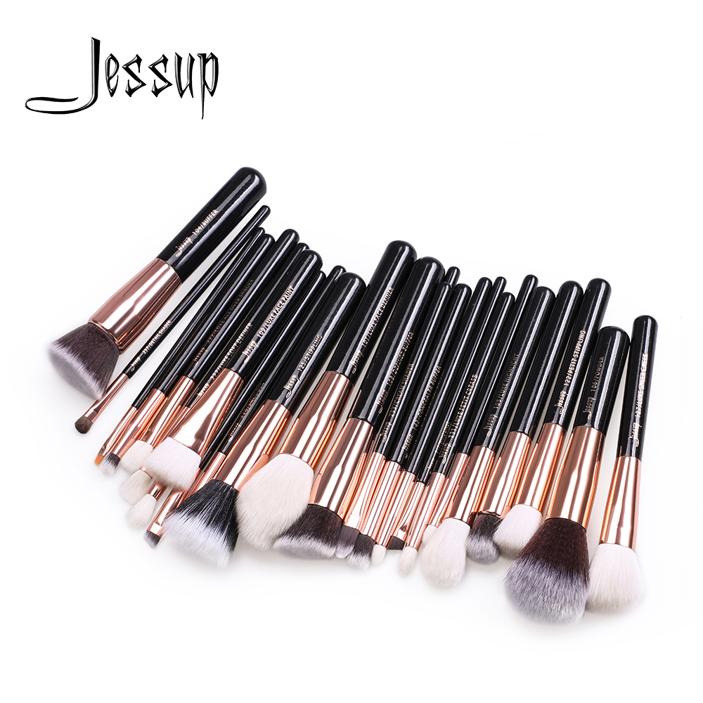 Jessup Brushes 25Pcs Rose Gold/Black Professional Makeup Brushes Set Make up Brush Tools kit Foundation Powder Blushes T155