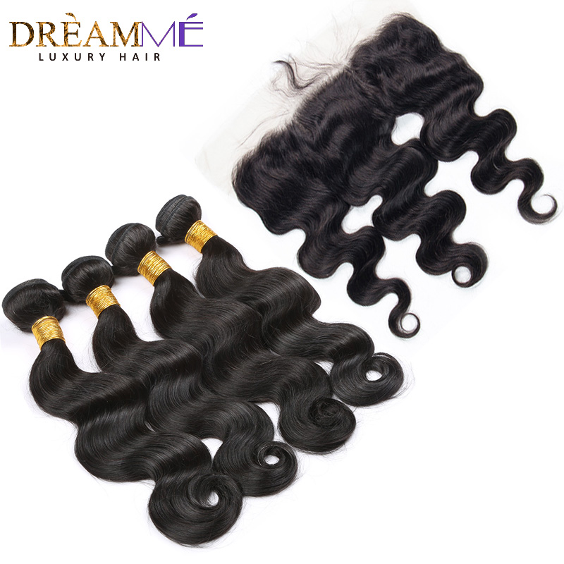 Dream me 13x4 Lace Frontal Closure With 3 Bundles Brazilian Body Wave Remy Human Hair Extensions Natural Color Weave-in 3/4 Bundles with Closure from Hair Extensions & Wigs    1