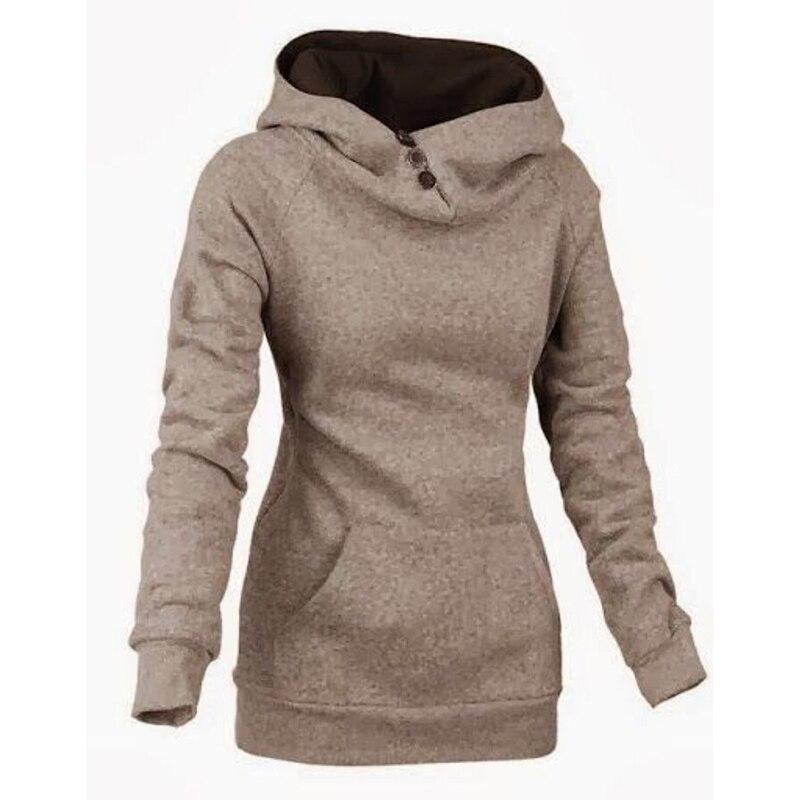 2015 New Hoodies Women Sweatshirt Cowl Neck Button Up Baggy Pocket ...