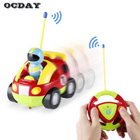OCDAY New Cartoon Remote Control Car Race Cars Model Educational Baby Kids Light Music Toys Gift