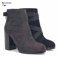 Cross Narrow Band Boots Women Dark Gray Black Ankle Boots Chunky Heel Bowtie Super High Heel
