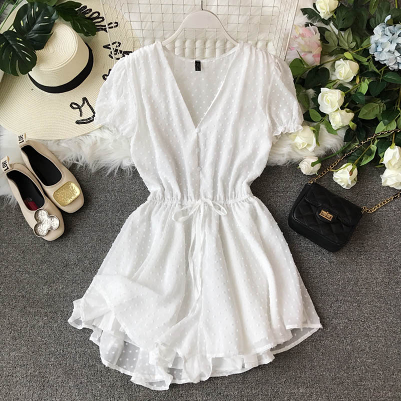 2019 Summer Bodysuit New V-collar Flocking Point Chiffon Couplet Girls Summer Short Playsuits Women Short Sleeve Sweet Jumpsuits