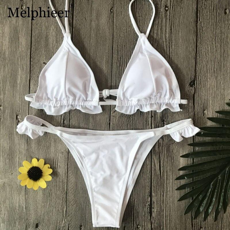 White Ruffle Bikini Swimwear Women Swimsuit Sexy Monokini Swimsuit Biquine Feminino 2018 Black Micro Bikini Swim Wear Biquini