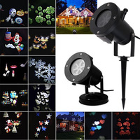 Outdoor 12 Patterns Christmas Laser Snowflake Projector LED Waterproof Disco Lights Home Garden Star Light Indoor