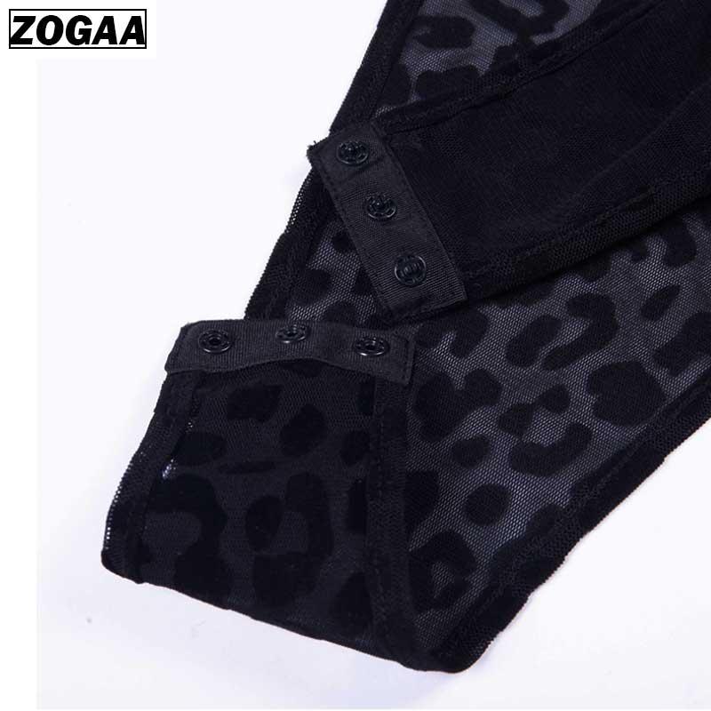 Leopard Bodysuit Long Sleeve Sexy Bodysuit Women Black Fashion Animal Print Mesh Bodysuit Jumpsuit Overalls Streetwear ZOGAA in Bodysuits from Women 39 s Clothing