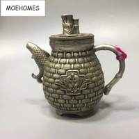 MOEHOMES China Collectible home Decorate Old Tibet silver carving Fish, grass basket statue tea pot Flagon metal crafts
