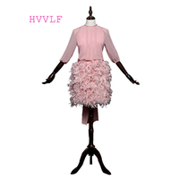 Pink 2017 Elegant Cocktail Dresses Sheath High Collar Half Sleeves Chiffon Feather Open Back Short Mini