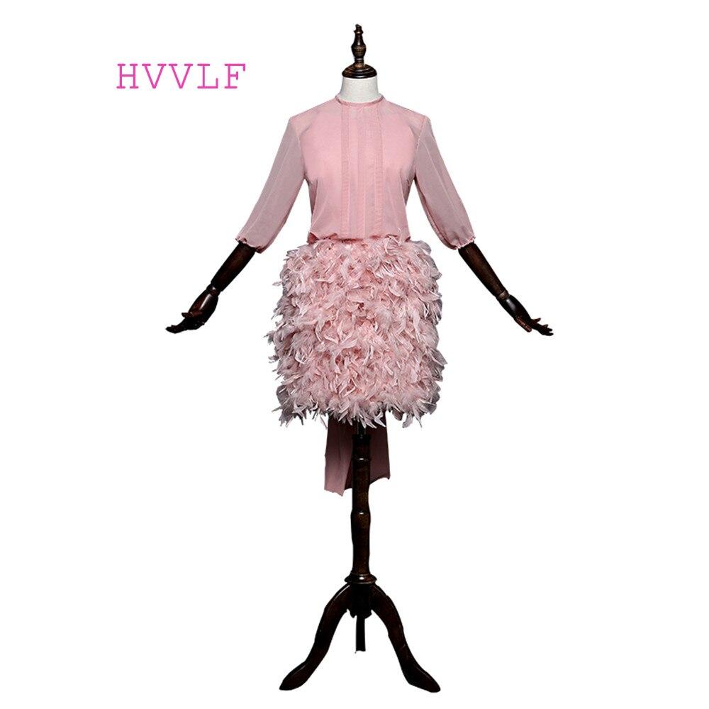 Pink 2018 Elegant Cocktail Dresses Sheath High Collar Half Sleeves Chiffon Feather Open Back Short Mini Homecoming Dresses