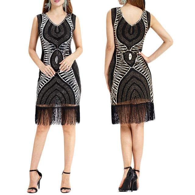 New Arrival Women Vintage 1920s Bead Fringe Sequin Lace Party Flapper Ladies Dresses Vestidos