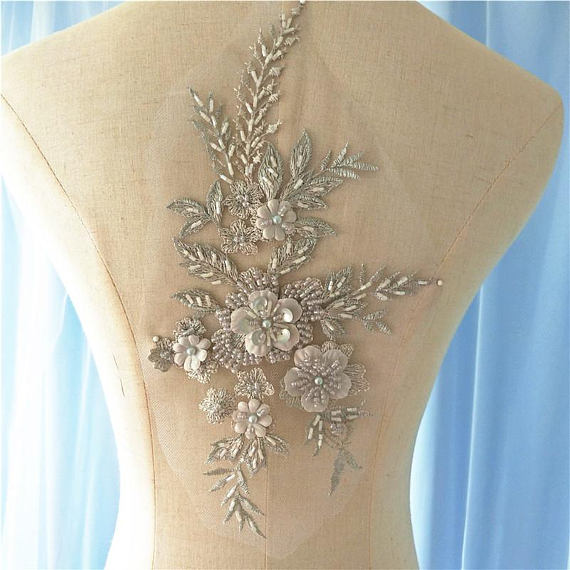 Gray Heavy Bead Lace Applique, 3D Lace Applique With Pearls, Deluxe 3d Flower Applique, Heavy Embroidered Flower Appliqu