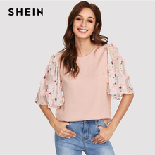 SHEIN Pink Flower Applique Mesh Sleeve Top Women Round Neck Butterfly Sleeve Button Blouse 2018 Elegant Half Sleeve Blouse