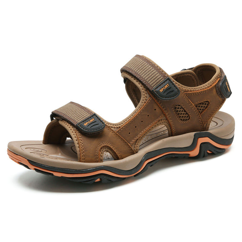 LINGGE/Новинка; модные мужские сандалии; большие размеры 39-45; ; летняя пляжная обувь; повседневные мужские сандалии из натуральной кожи;#2626 - Цвет: light brown