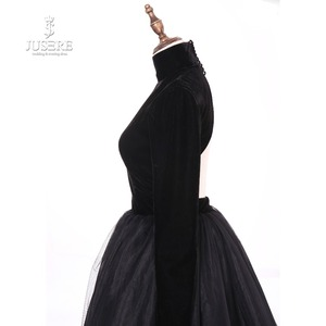 Image 5 - Jusere Real Photos High Neck Back Open Black Prom Dresses Silk Velvet A Line Evening Dress With Tail robe de soiree 2019