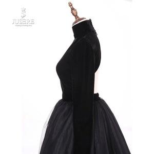 Image 5 - Женское вечернее платье с высоким воротом Jusere, черное шелковое бархатное платье трапеция с открытой спиной, платье для выпускного вечера, 2019