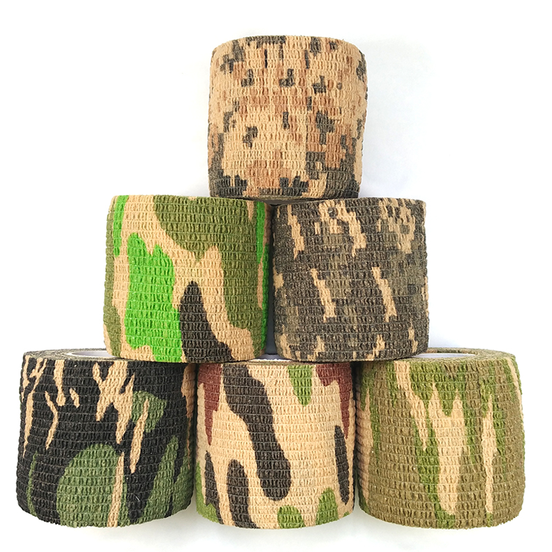6 pcs / lot Rifle berburu aksesoris Non woven Shooting Bersepeda Kamuflase Pita Perekat Wrap Waterproof Camo Stealth Tape