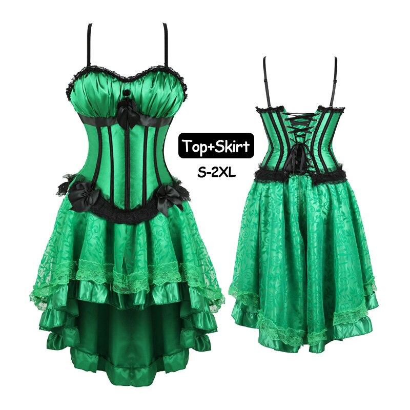 Women Plus Size Zipper Corset Dress Set Shoulder Straps Bustiers and Corsets Top Skirts Party Vintage Burlesque Costumes Sets