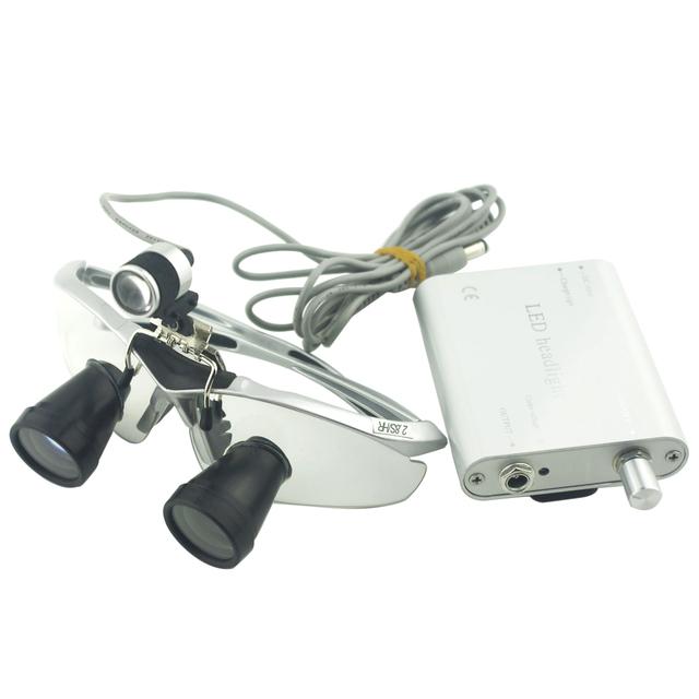 Ampliação 2.8x Personalizado Dental TTL (Através Da Lente) BP Quadro de Esportes e Montado LEVOU Cabeça Lupas com Prata luz