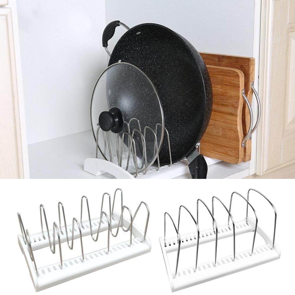 Home Storages Shelf Supplies 5-grid Stainless Steel Lid Storage Rack Kitchen Baking Pan Pot Plate Storage Stand Holder Gadgets