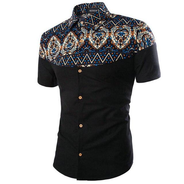 2017 Горячие Мужские Рубашки С Коротким Рукавом Летом Печати Мода Человек Рубашка