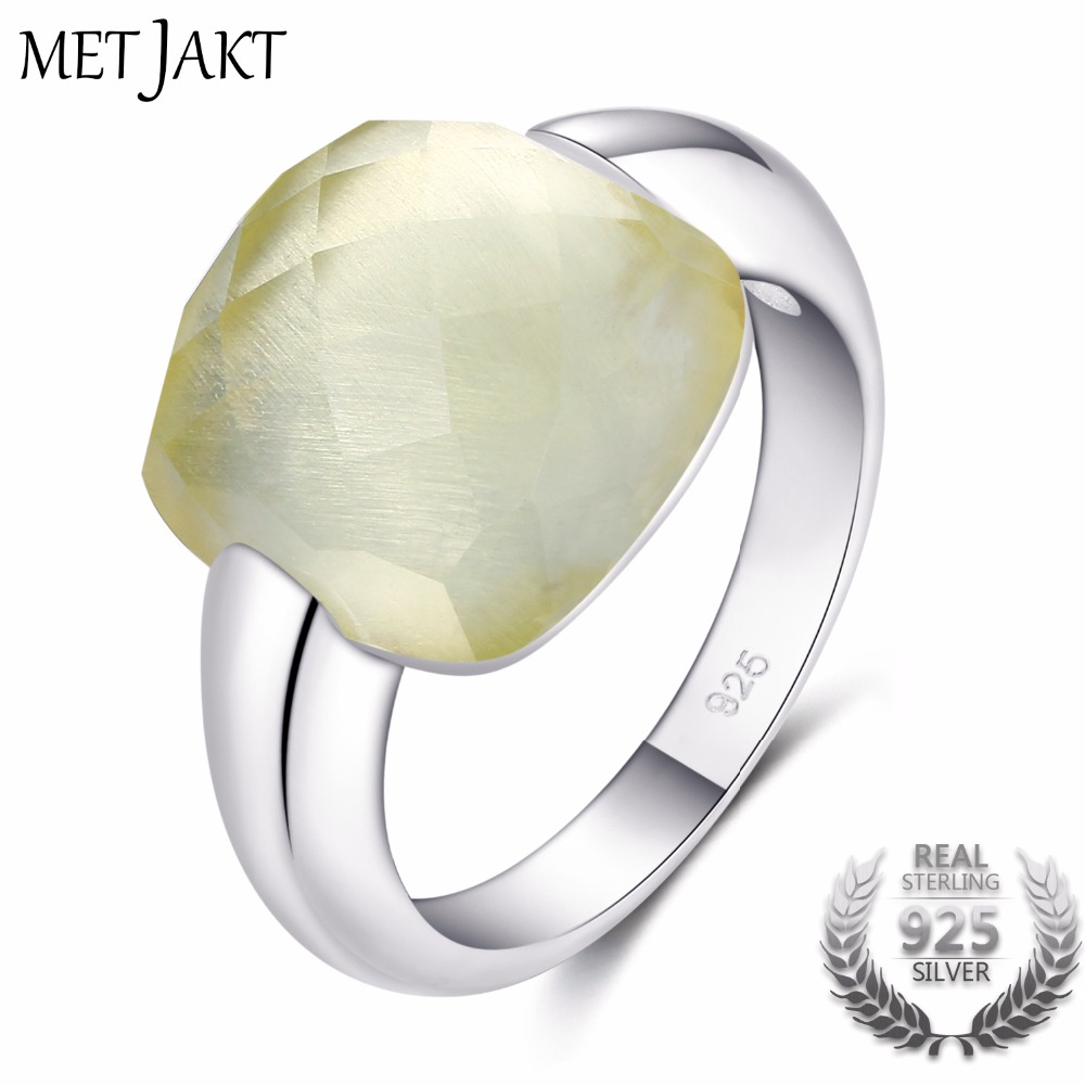 MetJakt Natural Citrine Gemstone 925 Sterling Silver Rings with Lemon Stone for Women Fine Jewelry