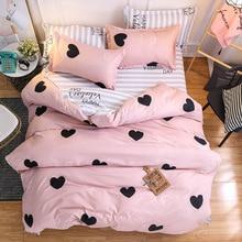 Pink Heart Bedding Sets Quilt Bed Pillow Duvet Cover Set Single/Double/Queen/King Size 3/4pcs Cartoon Home Textile Pillowcases