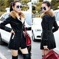 leather ladies long jacket black windbreaker winter womens jackets warm coats chaqueta de cuero de las mujeres with fuzzy fur