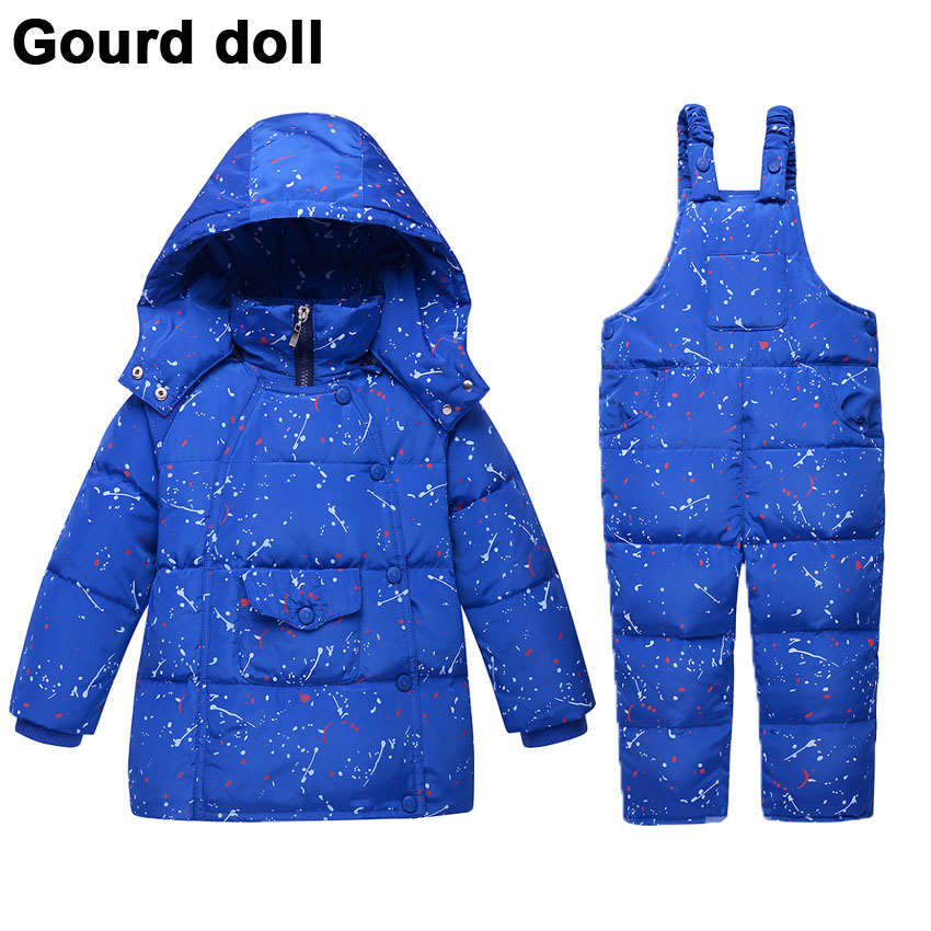 Baby boys girls winter clothing set 90 thicken duck down snow wear kids overalls for infant