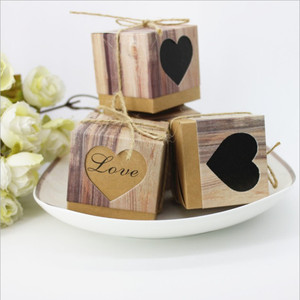 100pcs Kraft Gift Box Candy Boxes for Wedding Favor Boxes Package Rustic Imitation Bark with Burlap Twine