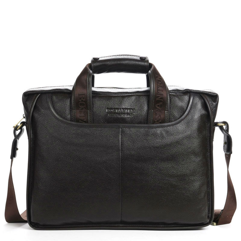 100% GENUINE LEATHER Cowhide Shoulder Leisure Men's Bags Business Messenger Portable Briefcase Laptop Large Purse 14 Handbag top layer genuine cow leather cowhide shoulder leisure men s bag business messenger portable briefcase laptop casual purse