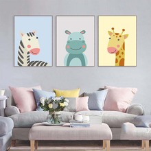 Cute Animal Zebra Giraffe Hippo Canvas Painting Cartoon Wall Art Posters Nursery Prints Nordic Kids Decoration Pictures(No Frame