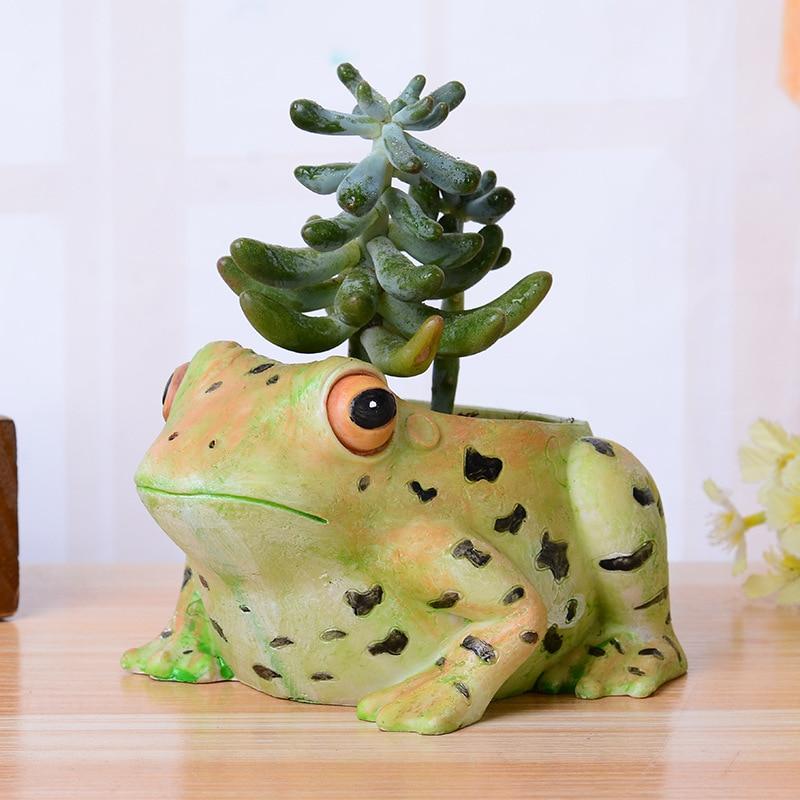 Creative home decor vase resin frog ornament garden decor pot succulent plants