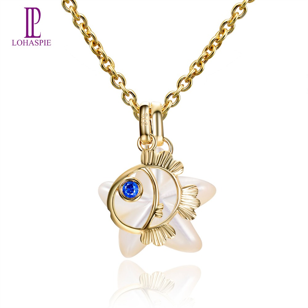 Lohaspie Pearl Jewelry Ocean Party Solid 9k Yellow Gold Pendant Natural Sapphire Mother of Pearl Fish Star Fine Stone Jewelry lohaspie ocean party natural sapphire pendant solid 9k yellow gold mother of pearl starfish fine fashion stone pearl jewelry new