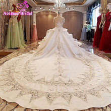Real Photo Luxury Ivory Scoop Neck Lace Appliques Sleeveless Cathedral Train Satin Wedding Dress 2017 New Design Bridal Dresses