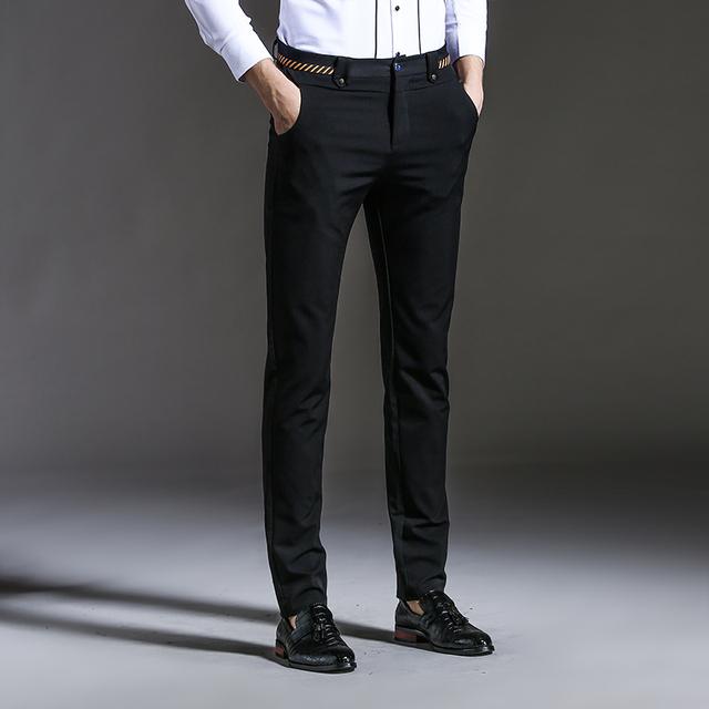 2016 Nova Slim Fit Homens Calça Casual Moda Primavera Outono Vestido em linha reta Homens Calças do Terno de Negócio Dos Homens Calças Elásticas Para homem