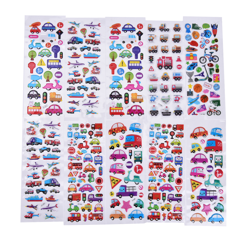 2/6Pcs/lot Mixed Cartoon Bubble Stickers Transport Cars Children Kids Girls&Boys Cartoon Stickers Decoration Christmas Gift